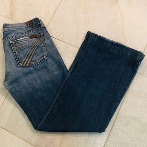 7 FOR ALL MANKIND DENIM FRAYED BOOTCUT JEANS